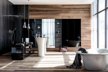 """Falper Kollektion Atelier Via Veneto / """"Scoop"""". Freistehendes Waschbecken mit Oberfläche Cemento und """"Shape"""" Badewanne."""