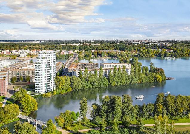 An der Spandauer-See-Brücke soll zukünftig die HavelPerle einen städtebaulichen Akzent setzen © PROJECT Immobilien Wohnen AG