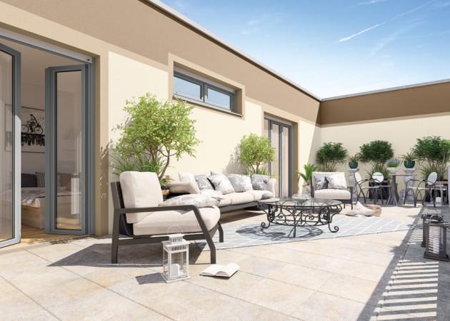 Die Dachterrasse © PROJECT Immobilien Wohnen AG