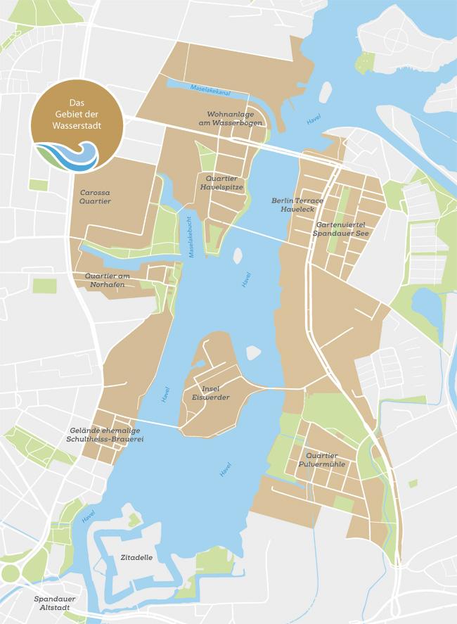 Wasserstadt_Karte Wasserstadt  Spandau