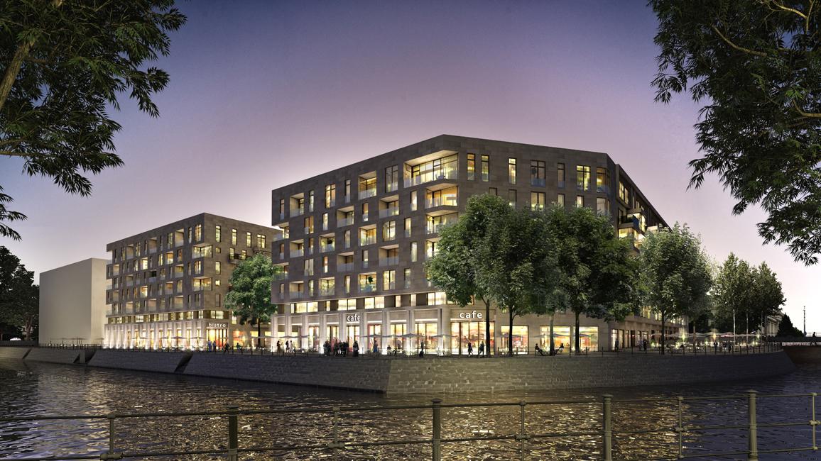 LIP_Humboldthafen_Nachtansicht-Uferpromenade-vom-Ufer Wohn- und Geschäftshäuser am Humboldthafen