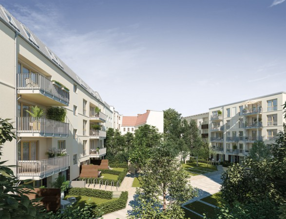 Lebensart Spandau – Die überwiegend zum Innenhof ausgerichteten Balkone und Loggien bieten Ihnen einen gemütlichen Ort zum Innehalten, Abschalten und Entspannen. © PROJECT Immobilien