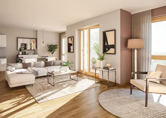 Bodentiefen Fenster lassen viel Sonne in Ihren Wohnraum. © PROJECT Immobilien