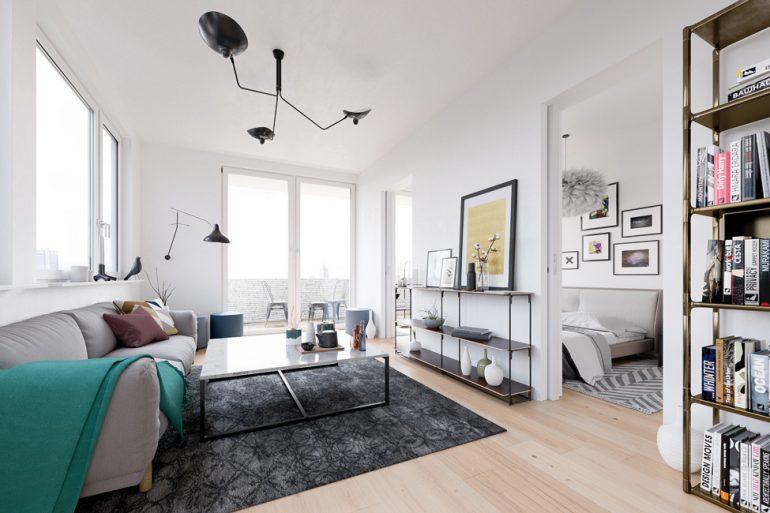 Ideal für Kapitalanleger sind die City-Apartments mit ein und zwei Zimmern im Projekt NeuHouse © David Borck Immobiliengesellschaft mbH