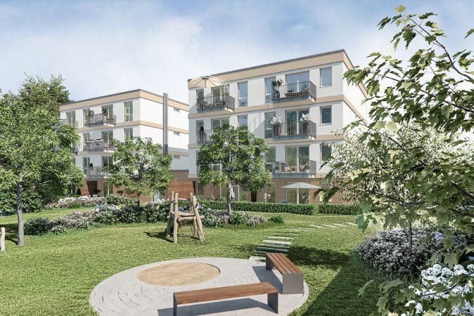 Im grünen Innenhof entstehen Sitzgelegenheiten und Spielflächen für Kinder. © Project Immobilien und Wohnen AG