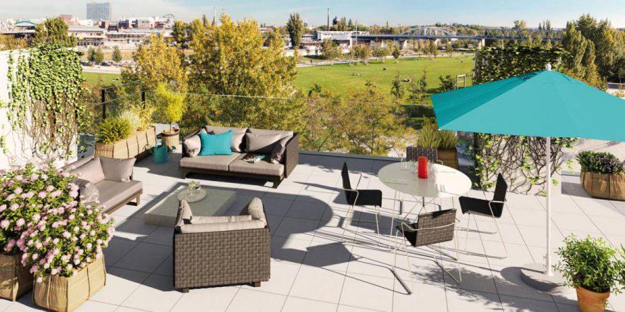 Wohnpanorama am Gleisdreieck, Dachterrasse © Ziegert – Bank- und Immobilienconsulting GmbH