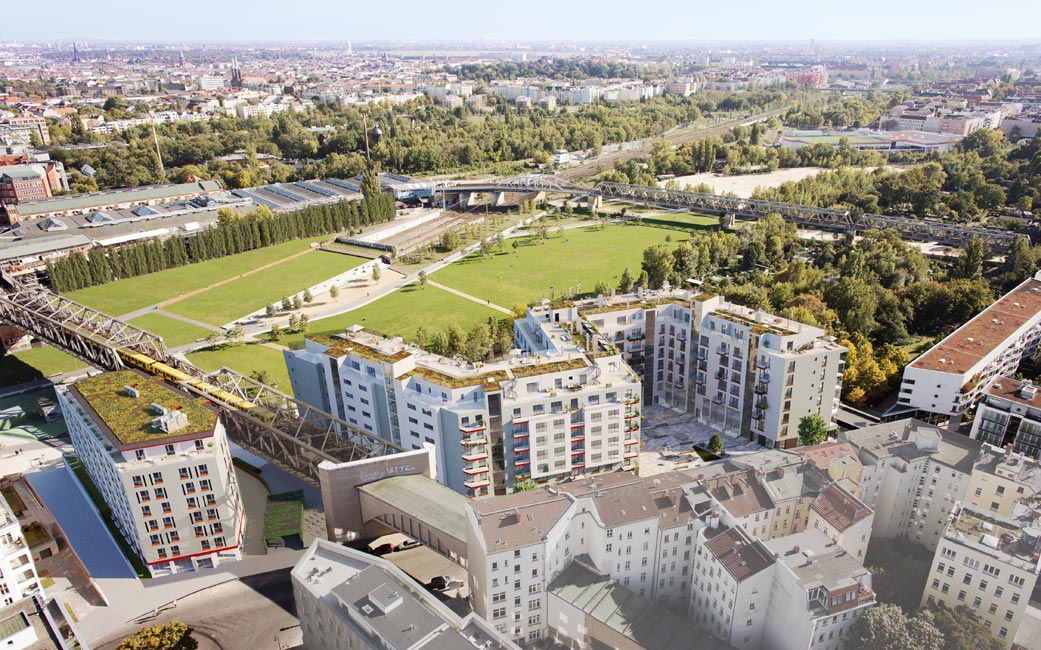 Ziegert_Am-Gleisdreieck-Wohnpanorama_Vogelblick Kiez am Gleisdreieck