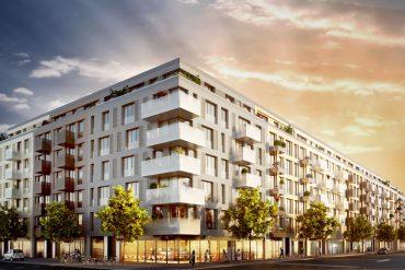 Schoenegarten: Das Farbkonzept für die Häuser nimmt sowohl historische Vorbilder wie zeitgenössische Gestaltungen auf. © Kurfürstenstrassse 41-44 Grundstücks GmbH