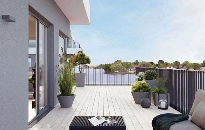 Herrlicher Ausblick von der Terrasse – 52°Nord © BUWOG Group
