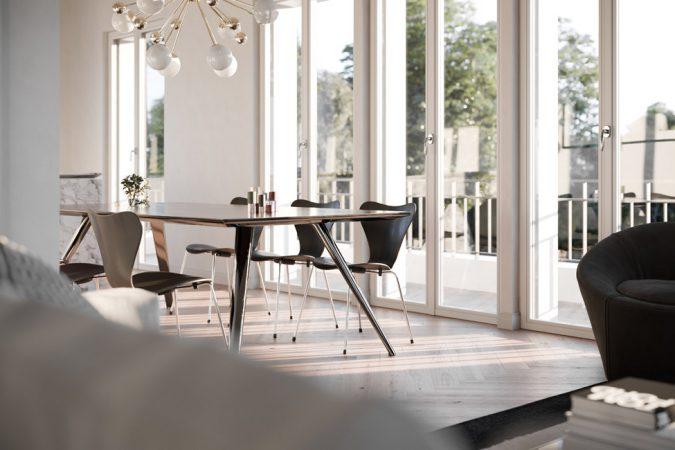 In der obersten Etage  befindet sich der offene Wohnbereich zum Essen, Kochen und Leben, an den sich nahtlos die Terrassen anschließen. © David Borck Immobiliengesellschaft mbH