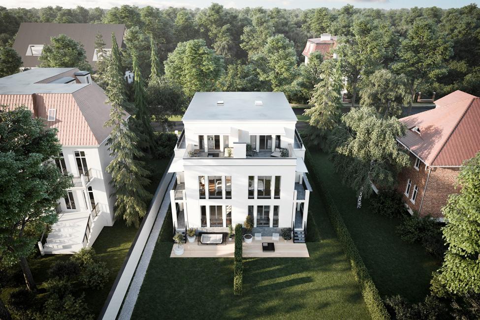 Gartenansicht-Podbielskiallee-38a_Visualisierung-David-Borck-Immobiliengesellschaft Dahlemer Stadtvilla mit vier Maisonettes