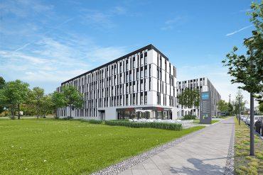 Der Büroneubau NUBIS befindet sich in repräsentativer Lage am Eingang zum Technologiepark Adlershof in Berlin. © PROJECT Immobilien Gewerbe AG