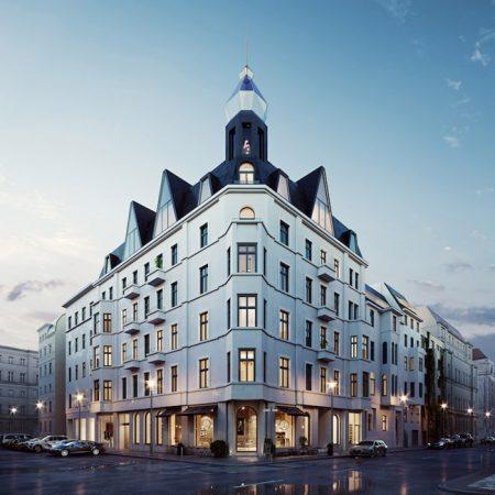 Neuinterpretation der Gründerzeitarchitektur: Der Turm, der an einen Edelstein erinnert, verleiht GLINT seine Einzigartigkeit. © Basis AG Immobilienberatung