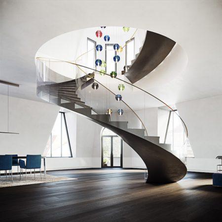 Raumskulptur: Als kunstvoll inszenierter Aufstieg führt die geschwungene Treppe in den gläsernen Turm, der ein 360- Grad-Panorama über die Dächer der Stadt bietet. © Basis AG Immobilienberatung
