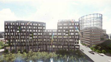 Der künftige Unternehmenssitz der GASAG auf dem EUREF-Campus in Schöneberg ist als KfW-55 Effizienzhaus konzipiert, mit dem zusätzlich die strengen Vorgaben der EnEV für den Energieverbrauch nahezu halbiert werden. © EUREF AG