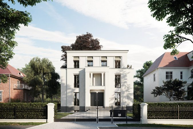 In der Podbielskiallee in Berlin-Dahlem entsteht jetzt eine neue Stadtvilla mit vier Maisonettewohnungen. Baustart ist im Frühjahr 2018, der Vertrieb durch die exklusiv beauftragte David Borck Immobiliengesellschaft hat bereits begonnen. © David Borck Immobiliengesellschaft