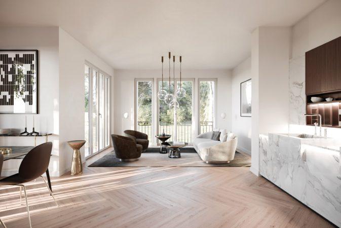 Allen vier Wohnungen gemein ist nicht nur die moderne, klare Architektursprache, sondern auch die Ausstattung mit hochwertigen Materialien. © David Borck Immobiliengesellschaft