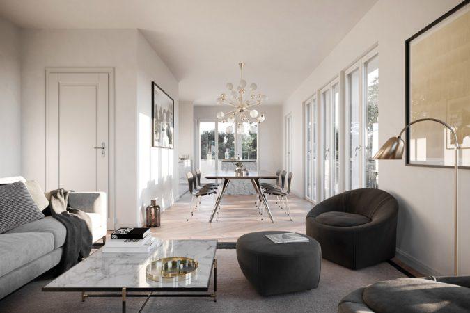 Unterteilt ist der Neubau in zwei Wohnungstypen, die spiegelbildlich angelegt sind. © David Borck Immobiliengesellschaft