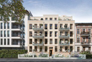 """Der Neubau """"KIEZ & Gloria"""" – im Vorderhaus entstehen 1- bis 3,5-Zimmer-Wohnungen, die sich größtenteils an Singles und Paare richten. © PROJECT Immobilien Wohnen AG"""