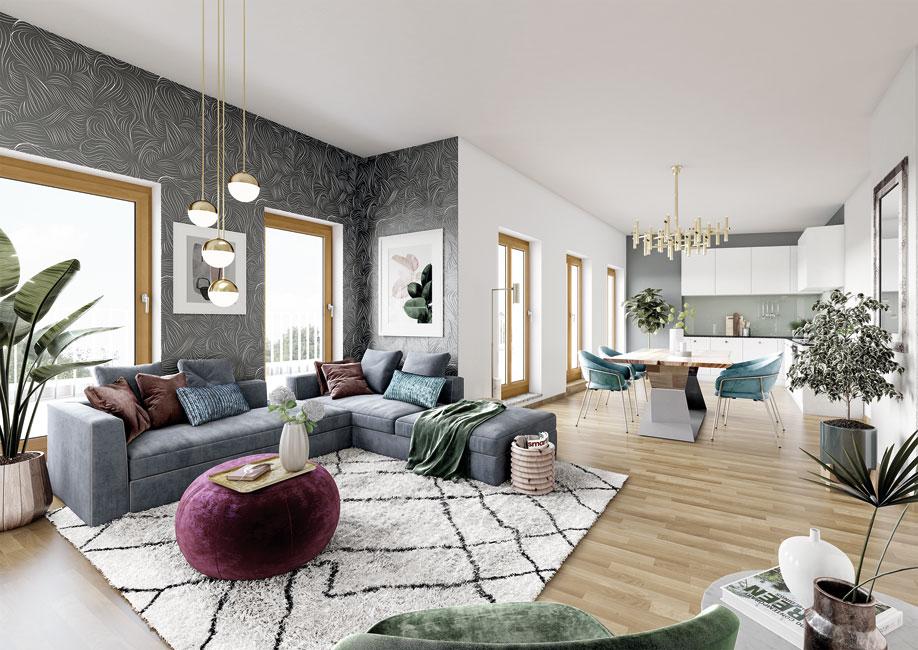 Zuhause fühlen leicht gemacht – in den 24 attraktiv geschnittenen Eigentumswohnungen von KIEZ & Gloria. © PROJECT Immobilien Wohnen AG