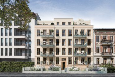 KIEZ & Gloria schließt harmonisch die Lücke zwischen dem direkt angrenzenden Neubau auf der einen und einem denkmalgeschützten Altbau auf der anderen Seite. © PROJECT Immobilien Wohnen AG