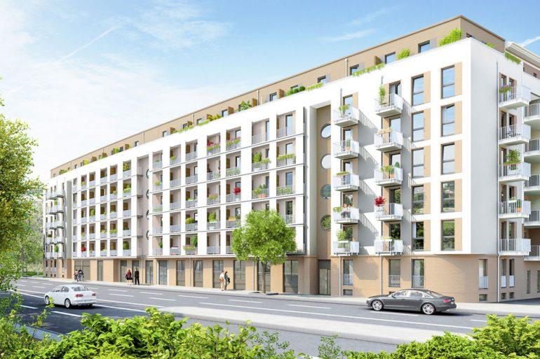 207 möblierte Mikro-Apartments und 2 Gewerbeeinheiten entstehen entlang der Wexstraße. © PROJECT Immobilien Wohnen AG