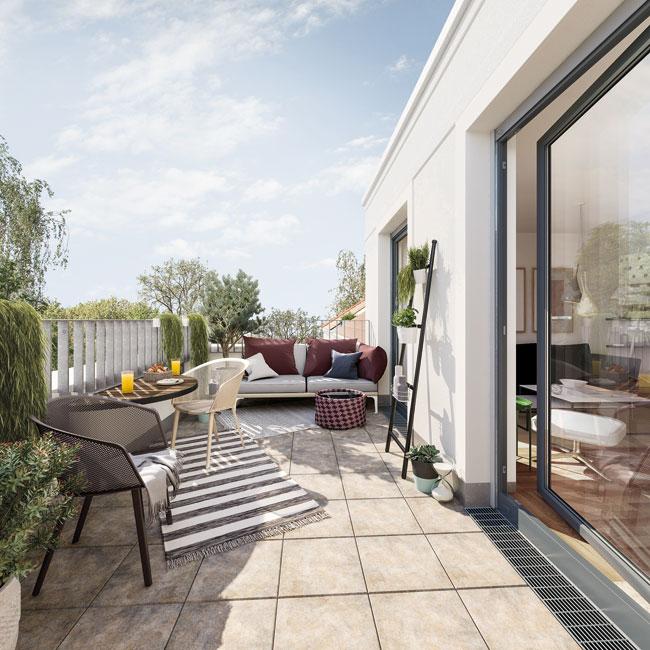 KARL IM GLÜCK: Dachterrasse © PROJECT Immobilien Wohnen AG