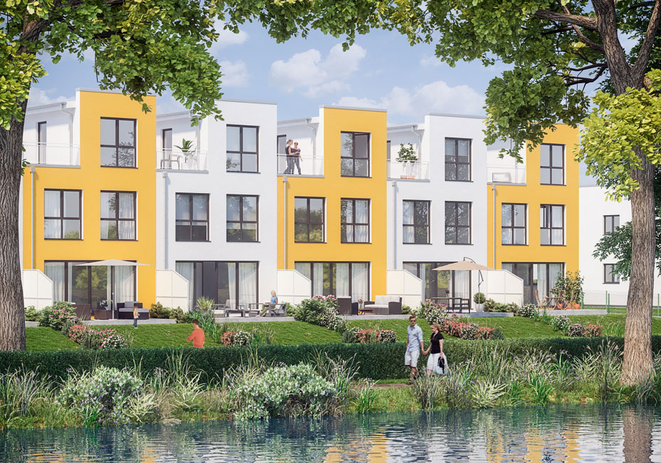 First-Home-Townhouses-Ansicht-Havelseite Exklusive Wasserlage