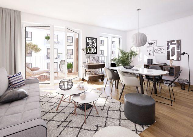 herz BERLIN • Wohnbereich © PROJECT Immobilien Wohnen AG