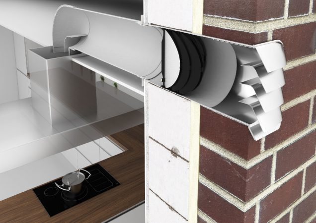 Bei Abluftbetrieb werden die Kochschwaden über ein Luftkanalsystem nach draußen ins Freie geführt. Auf demselben Weg gelangt auch wieder frische, neue Luft in die Wohnküche, damit kein Unterdruck entsteht. Damit es z. B. in Effizienzhäusern nicht zu kontraproduktiven Wärmever-lusten kommt, dafür sorgt der Abluft-/Zuluft-Mauerkasten inklusive Wärmerückhaltesystem. © AMK