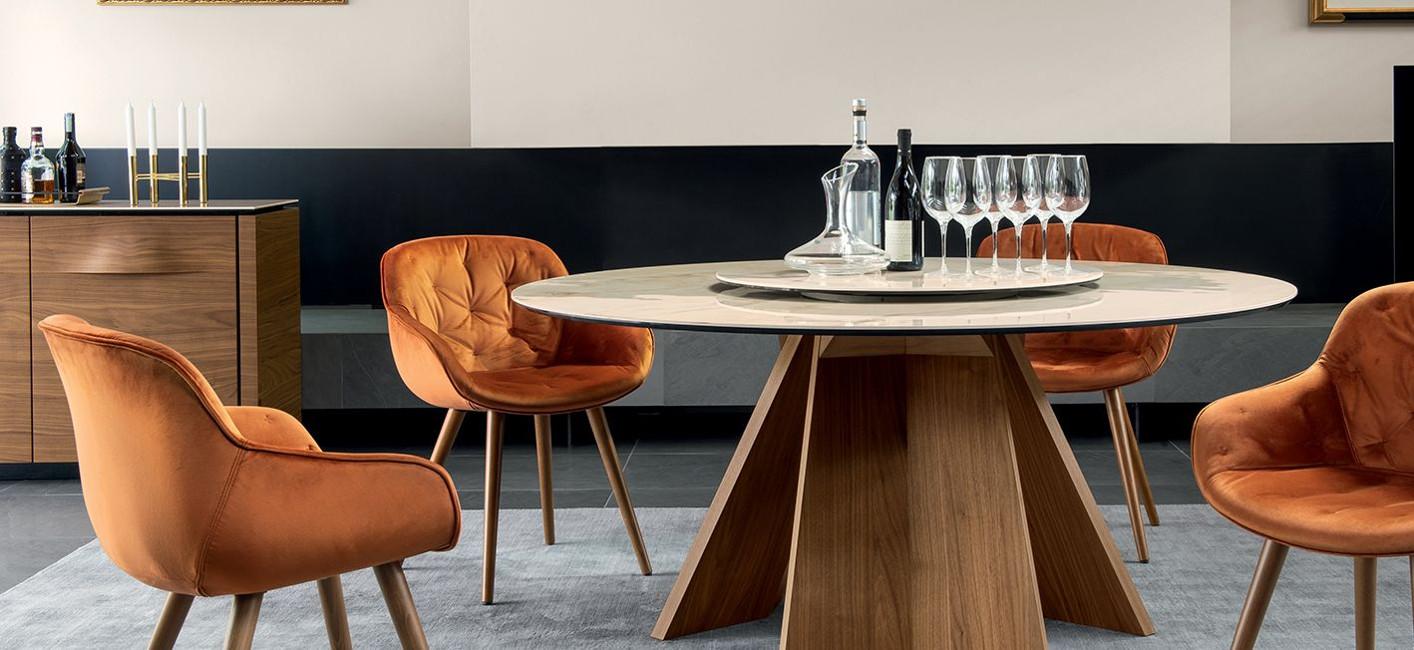 Wohntrends_Tische_Bild_10_ICARO-rund-Calligaris-WHOSPERFECT Hochwertige Tischkultur  aus Italien