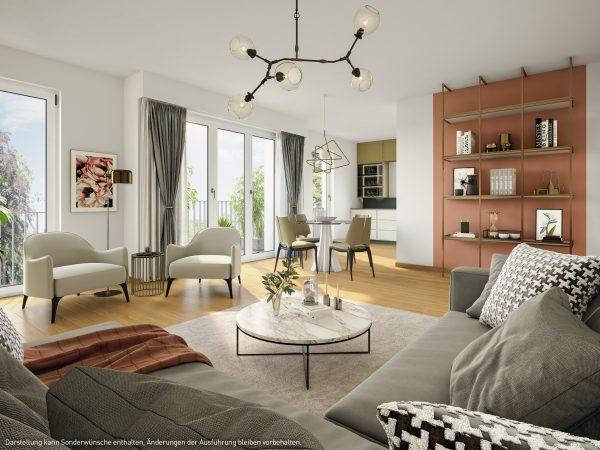 Wohnzimmer © PROJECT Immobilien Wohnen AG