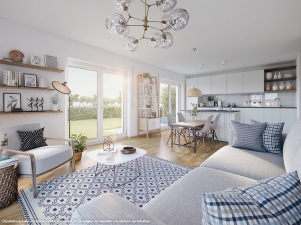ein Blick in das Wohnzimmer © PROJECT Immobilien Wohnen AG