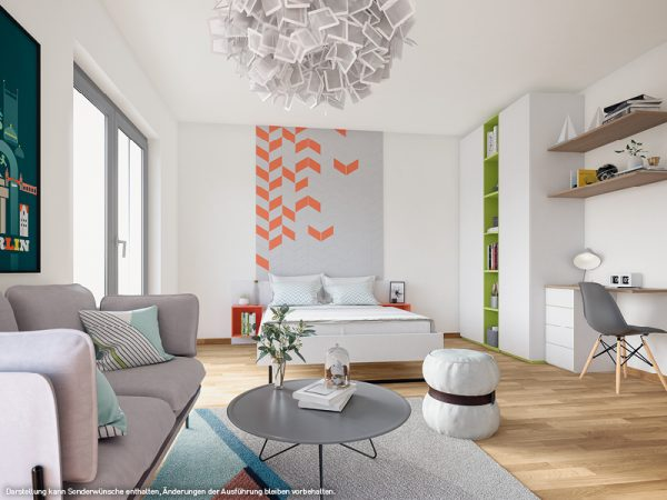 Blick ins Schlafzimmer © PROJECT Immobilien Wohnen AG