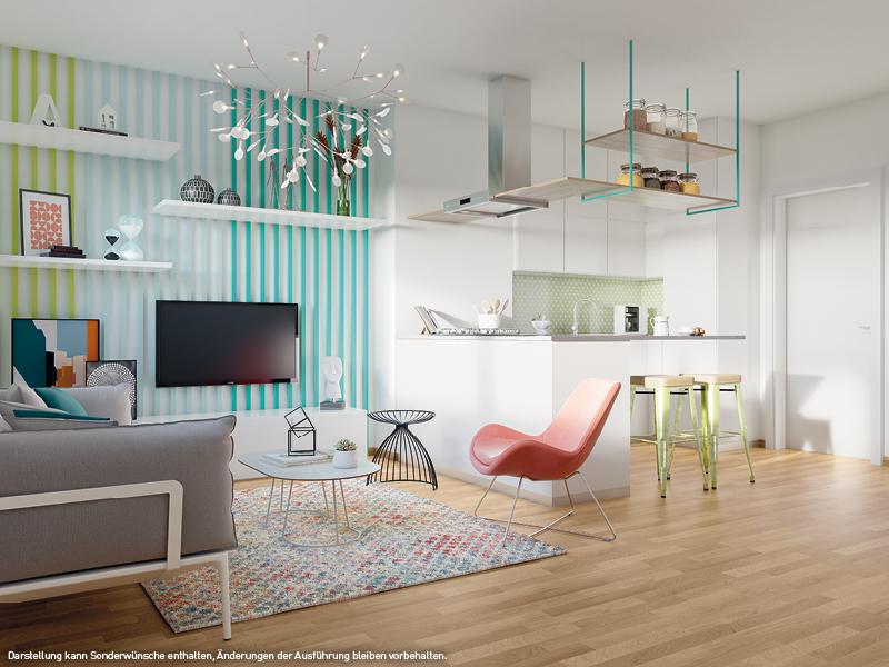 Blick ins Wohnzimmer © PROJECT Immobilien Wohnen AG