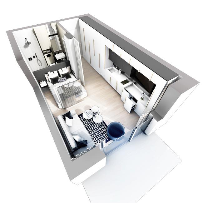 Beispiel-Apartment 1 Visualisierung © Andrzejczuk GmbH