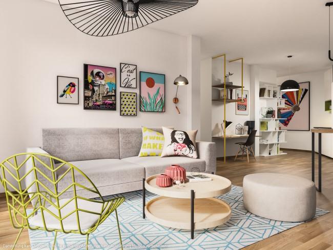 der Wohnbereich © PROJECT Immobilien Wohnen AG