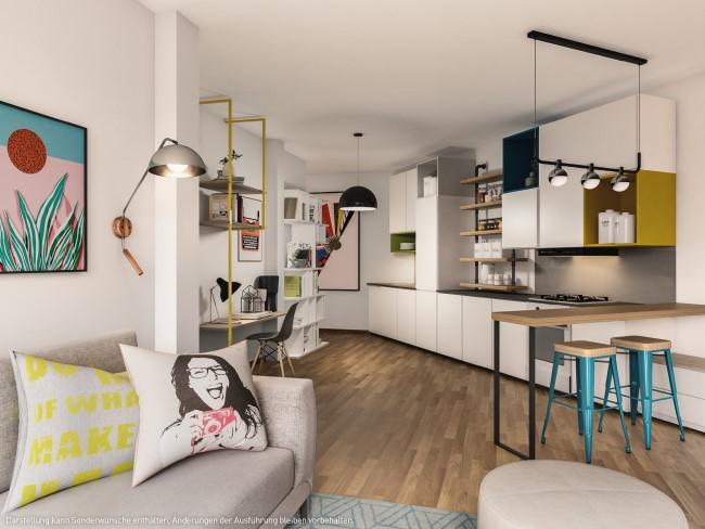 ein Blick in den Wohnraum © PROJECT Immobilien Wohnen AG