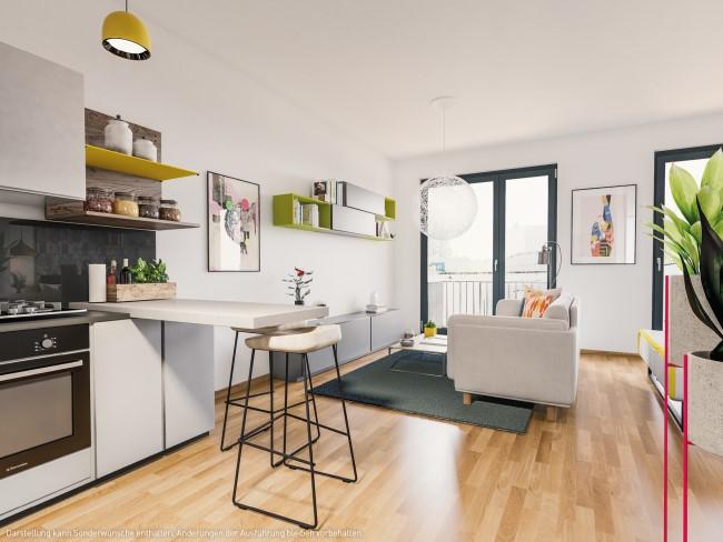 die offene Küche © PROJECT Immobilien Wohnen AG