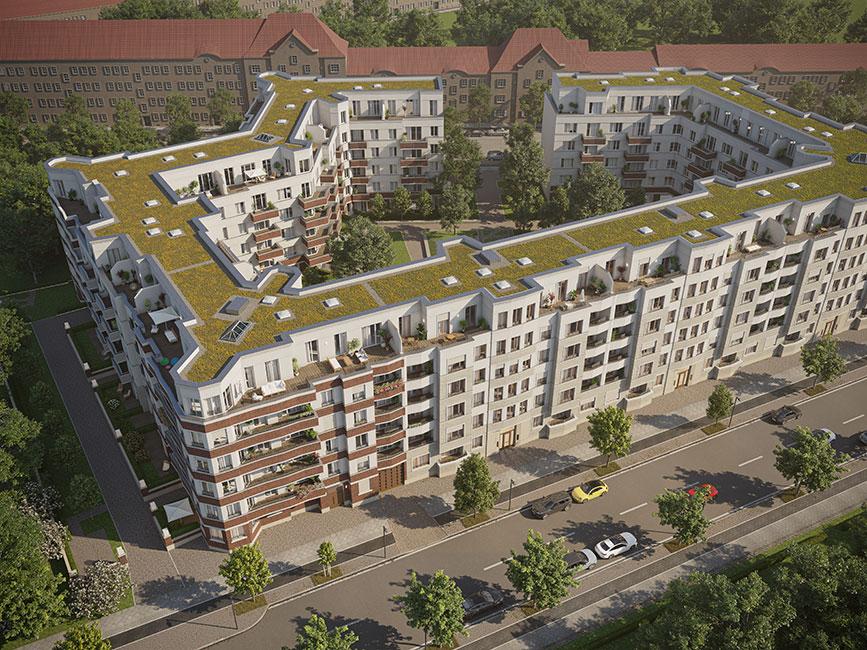 das Projekt aus der Vogelperspektive © unverbindliche Visualisierung / Ziegert EverEstate GmbH