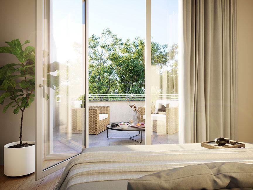 ein Blick zum Balkon © unverbindliche Visualisierung / Ziegert EverEstate GmbH