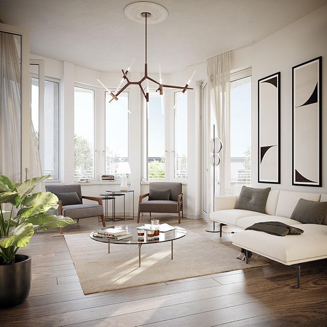 exklusiver Wohnbereich © unverbindliche Visualisierung / Ziegert EverEstate GmbH