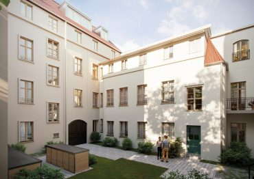 Unverbindliche Visualisierung - Ruhiger Innenhof mit einem Triplex-Townhouse