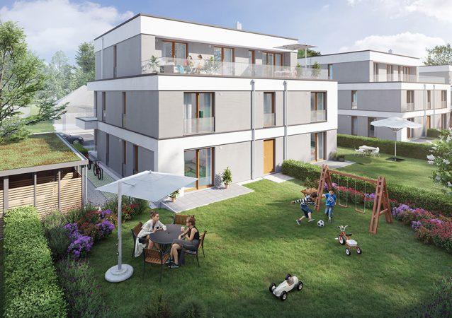ein Blick in den Garten /  unverbindliche Visualisierung © HELMA Wohnungsbau GmbH
