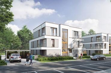 Straßenansicht der NordVillen / unverbindliche Visualisierung © HELMA Wohnungsbau GmbH