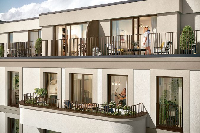 Das Saßnitzer, Balkon, 3D-Visualisierung © Archlab