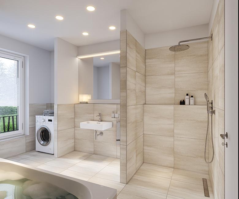 durchdachte Badezimmer das Saßnitzer / 3D-Visualisierung © Archlab