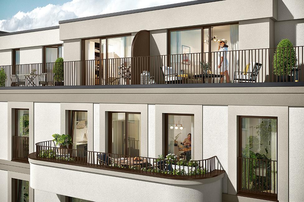 Balkon oder Terrasse im Saßnitzer / 3D-Visualisierung © Archlab