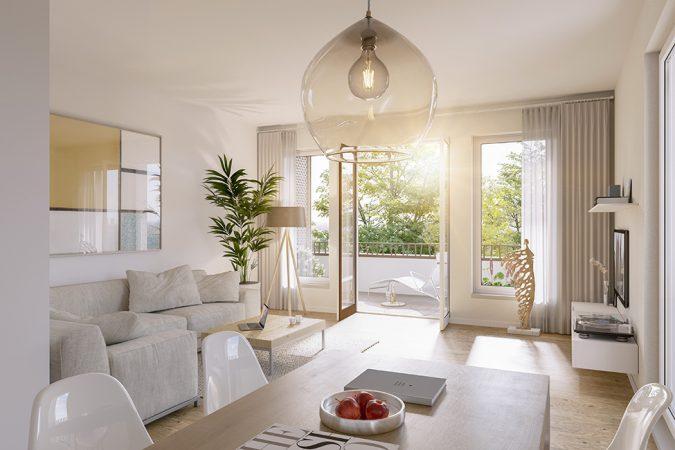 Wohnräume mit Echtholzparkett im Saßnitzer / 3D-Visualisierung © Archlab