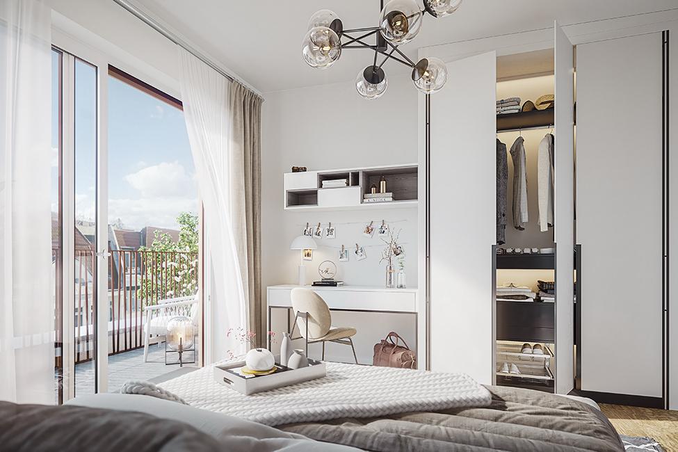 große Fenster und helle Räume im Saßnitzer / 3D-Visualisierung © Archlab